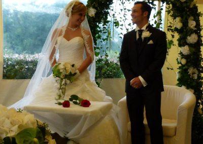 Arche roses et hortensias