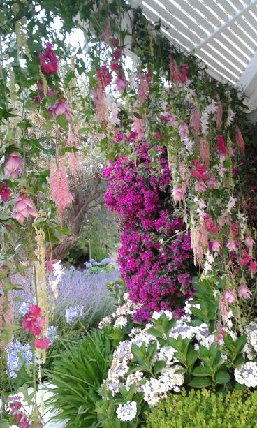 rideau de fleurs cousues main