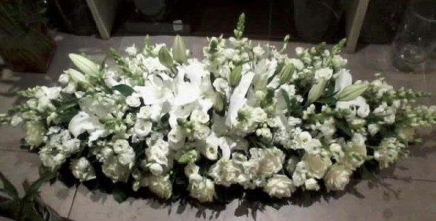 gerbe fleurs décès blanches